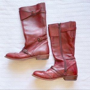 Frye 3 strap red Dorado leather riding boots rare